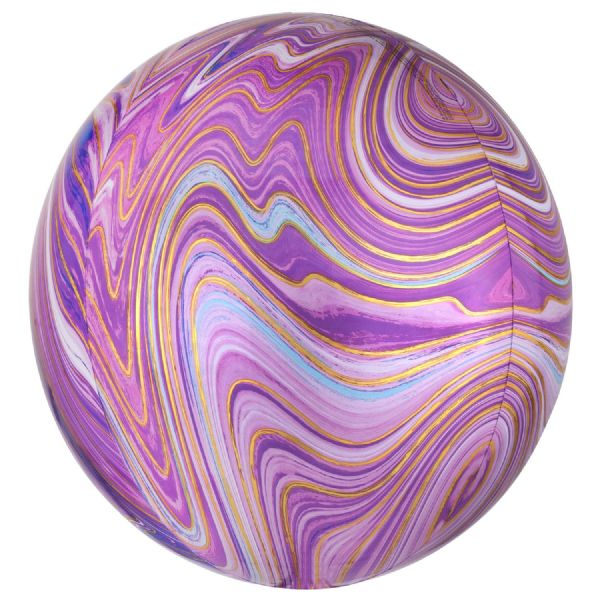 Purple Marblez Round Orbz 15in Balloon